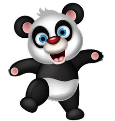 Panda cartoon dancing vector