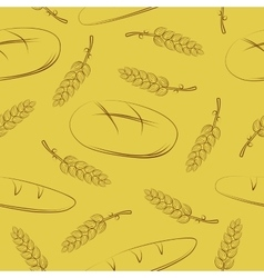 Seamless pattern with spikelets and bread vector