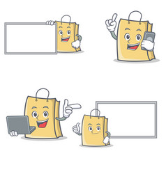 Set of bag character with board laptop phone pose vector