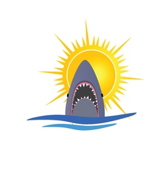 shark and sun vector image
