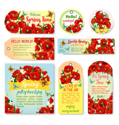 Spring holiday greeting cards of blooming flowers vector