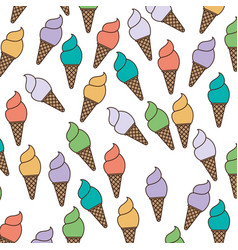 White background with pattern of ice cream cones vector