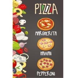Whole Pepperoni Hawaiian Margherita pizza vector image vector image