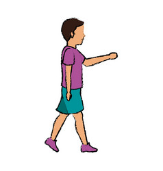 Woman character walking people cartoon vector