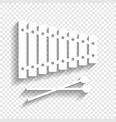 Xylophone sign white icon with soft vector