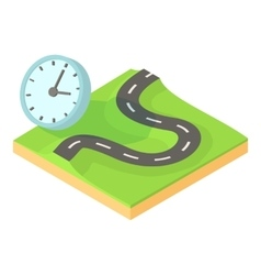 Time of route icon cartoon style vector