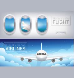 airplane window the tourist banner passenger vector image