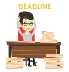 Business man having problem with deadline vector