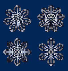 Set of simple round floral golden mandala on blue vector
