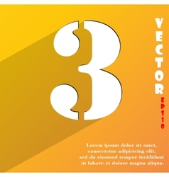 Number three icon symbol flat modern web design vector