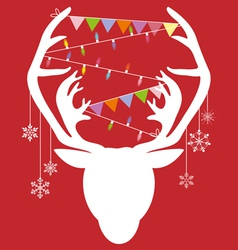 Reindeer white hang christmas accessories on red vector