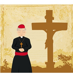 Priest prays by the cross grunge background vector
