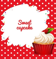 Cupcake with rasberry topping vector