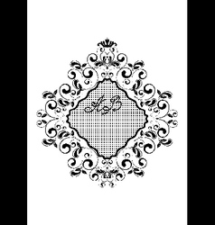 Black wavy rhomboid frame with curls vector