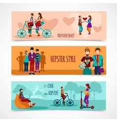Hipster people flat banner set vector