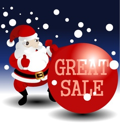 Christmas sale card with santa vector