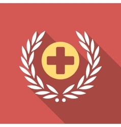 Health care embleme flat square icon with long vector