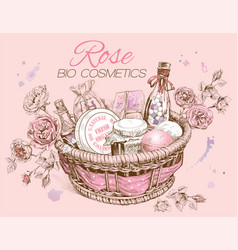 Rose basket vector