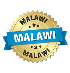 Malawi round golden badge with blue ribbon vector