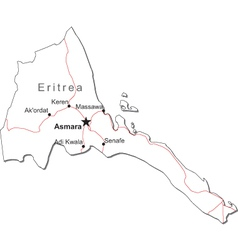 Eritrea Black White Map vector image