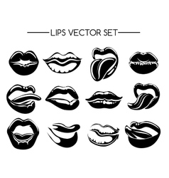 Set of black and white lips vector