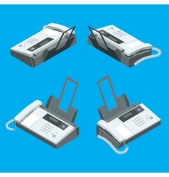 Fax machine office equipment flat 3d vector