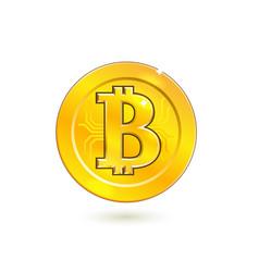 bitcoin cryprto currency golden coin vector image vector image