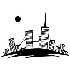 Black and white silhouette of city simple drawing vector