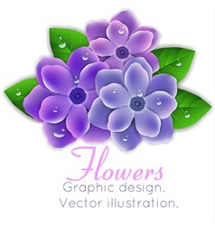 Blue and purple flowers with leaves vector