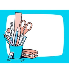 blue holder with stationery set in frame vector image