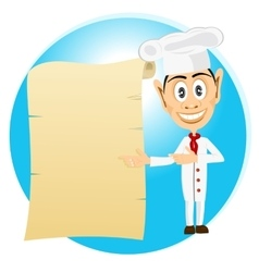 Chef holding old paper scroll vector