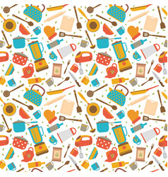 cute seamless pattern with kitchen tools cooking vector image vector image