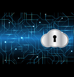 Cyber security keyhole lock cloud vector