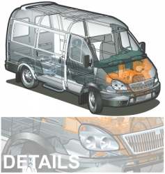 delivery cargo van cutaway vector image vector image