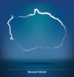 Doodle map of bouvet island vector
