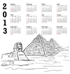 egypt pyramid 2013 calendar vector image vector image