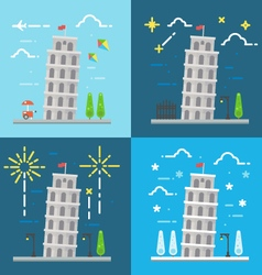 Flat design of 4 styles leaning tower of pisa ital vector