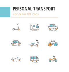 Flat linear icons of personal urban vector