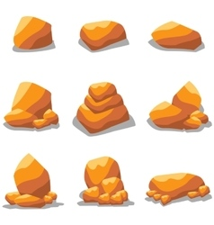 Golden rock set of art vector