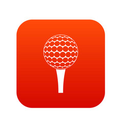 golf ball on a tee icon digital red vector image