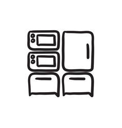 Household appliances sketch icon vector