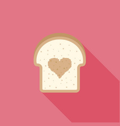 Icon bread with heart sign inside flat design vector