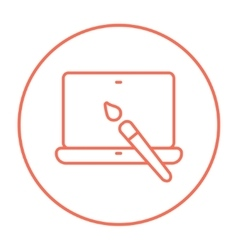 Laptop and brush line icon vector image