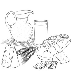 Line art dairy products and bread vector