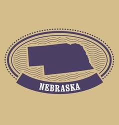 Nebraska map silhouette - oval stamp vector image vector image