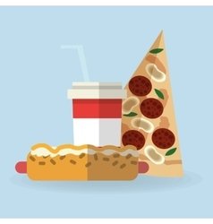 Pizza and hot dog design vector