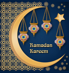 Ramadan kareem background with lanterns moon vector