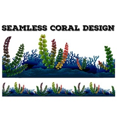 Seamless background with coral and seaweeds vector
