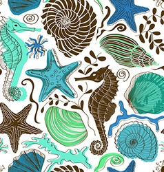 Seamless pattern of sea animals vector image vector image