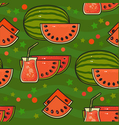 seamless pattern with cute watermelons with seeds vector image
